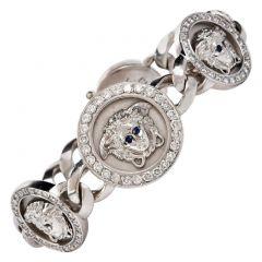 Gianni Versace Diamond Sapphire 18K Gold Medusa Chain Bracelet