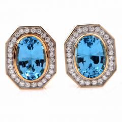 Vintage Retro Blue Topaz 18K Yellow Gold Stud Earring
