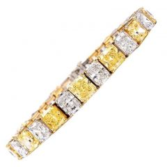 GIA Certified Natural Vivid and Fancy Yellow and White Diamond Bracelet