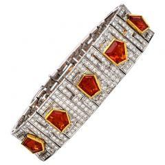 Estate Diamond Fire Opal 18K Gold Deco Wide Bracelet