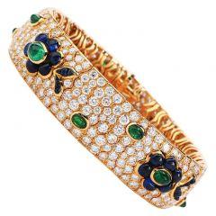 Vintage French wide Diamond Sapphire  Emerald Gold Bracelet