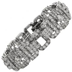 Antique 1930s Diamond Platinum Art Deco Link Bracelet
