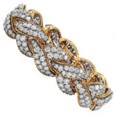 Vintage Diamond 18K Two-Tone Gold Cluster Braided Link Bracelet
