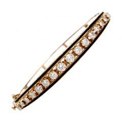 vinatge Diamond Black Enamel 14K Gold Bangle Bracelet
