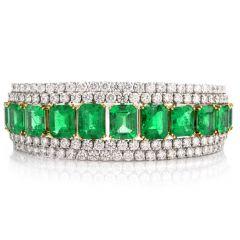 44.72 carats Diamond Natural Colombian Emerald 18K Gold Cocktail Braceley