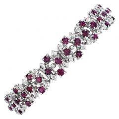 Vintage Diamond Ruby 18K White Gold Wide Cluster Link Bracelet