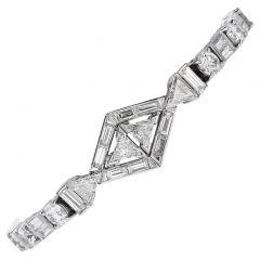 Antique Art Deco Diamond Platinum Geometric Line Link Bracelet