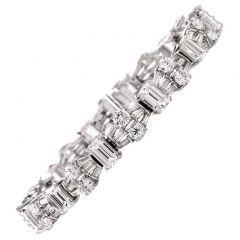 Certified Emerald cut Diamond Platinum Bracelet