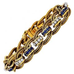 Performance Part Diamond Sapphire 18K Gold Vintage Links Bracelet