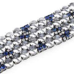 Estate Moonstone Diamond Sapphire 18k Gold Wide Bracelet