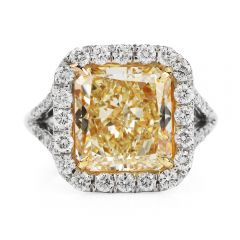 Platinum Fancy Yellow Radient Diamond Engagement Ring