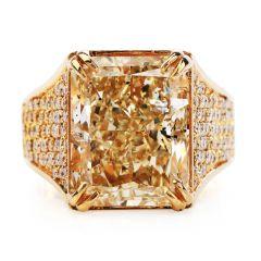 Estate 15.07 Carats NaturalFancy yellowRadiant Diamond 18K Gold Ring