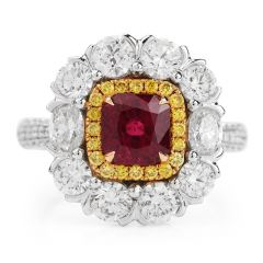 Red Ruby Fancy Diamond 18k Gold  Cocktail Ring