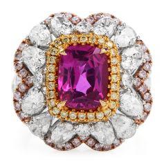 Vivid Ceylon Pink Sapphire Fancy Diamond 18K Gold Large Cocktail Ring
