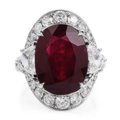 GRS Certified 13.45cts Burma Red Ruby Diamond 18K Gold Cocktail Ring