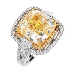GIA 10.65 Carats Yellow Diamond Cushion Cut 18K Gold Engagement Ring