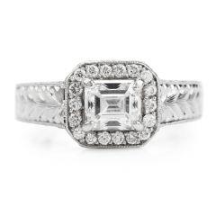 GIA 1.40 carats F-VS2 Emerald Diamond Platinum Engagement Ring