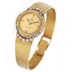 Vintage Omega De Ville Diamond  Ladies 18k Yellow Gold Watch