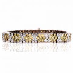 Estate 18.72ct Natural Fancy Yellow Diamond 18k Gold Bracelet