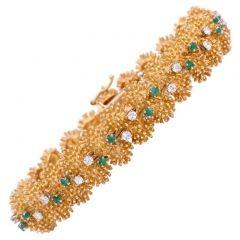 Vintage  Diamond Emerald 18k Gold Bracelet 1960's