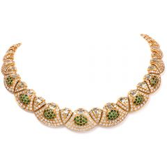 Estate 33.05ct Diamond Tsavorites 18K Gold Choker Necklace