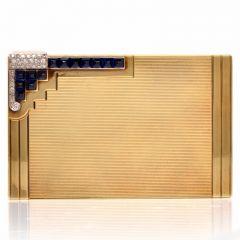 Vintage 14K Yellow Gold Diamond Sapphire Compact Box 115. grams