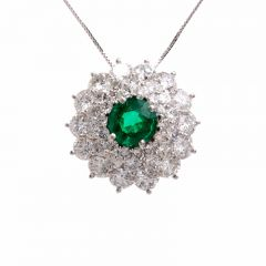 Certified Colombian Emerald Platinum Pendant