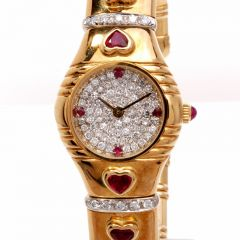 Estate Diamond Heart Ruby 18K Gold Ladies Watch