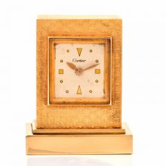 CARTIER Vintage 14K Gold Miniature Traveling Clock