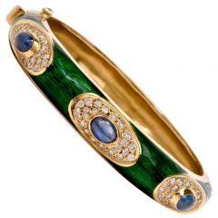 Estate Green Enamel Sapphire Diamond 18K Gold Bangle Bracelet