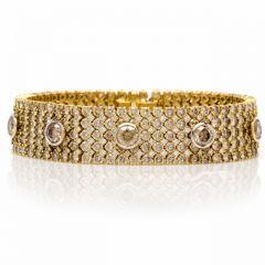Estate Natural  Fancy Brown Yellow  Diamond 18K Gold Bracelet 61.5 Grams