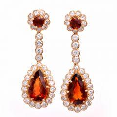 Estate Diamond Madeira Citrine 18K Gold Pendant Earrings