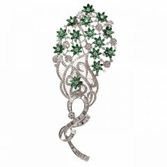 Large Peacock Emerald Diamond 18K Gold Floral Spray Brooch 17.85 carats