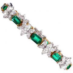 1980's Certified Emerald Diamond Platinum Gold Bracelet