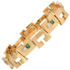 High Polish Emerald  Diamond 18k Gold  Unisex Bracelet