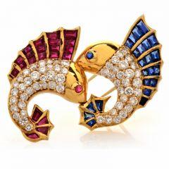 Vintage Diamond Sapphire Ruby 18K Yellow Gold Fish Lapel Brooch