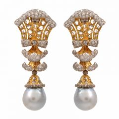 Buccellati Diamond Pearl 18k Gold Drop Earrings