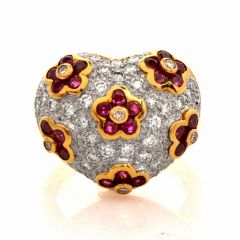 Vintage 2.57ct Ruby Pave Diamond 18K Yellow Gold Heart Motif Cocktail Ring