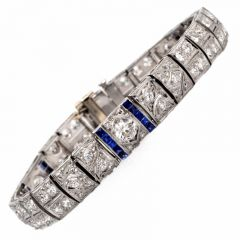 Antique Deco Diamond Sapphire Filigree Platinum Link Bracelet