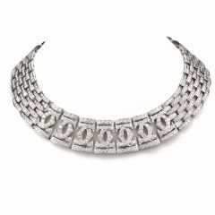 CARTIER Double C 56.20 ct Diamond Gold Choker Necklace