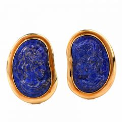 Lapis Lazuli Cameo Portrait 18K Gold Clip-Back Designer  Earrings