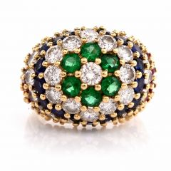 Estate  Multi Gem Diamond Cluster cocktail Gold ring