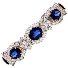 Sapphire Diamond Platinum Bracelet 39.68cts