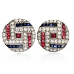 Vintage Retro Diamond Sapphire Ruby Platinum Round Clip Back Earrings