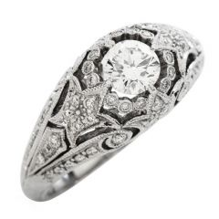 Vintage Deco Style Diamond Gold Filigree Engagement Ring