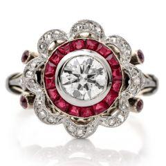 Vintage Diamond Ruby Flower Floral Engagement Ring