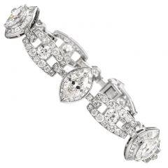 MOUAWAD Vintage Magnificent 16.02 Carats Diamond 18K White Gold Deco Bracelet