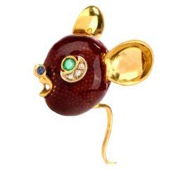Frascarolo Vintage Mouse Diamond Emerald Enamel 18K Gold Pin Brooch