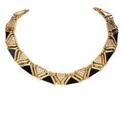 Vintage Onyx Diamond 18K Yellow Gold Choker Necklace
