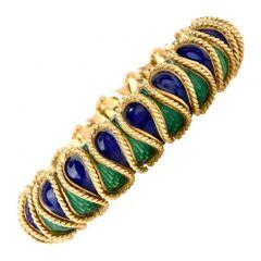 18K Italian Serpent Blue Green Enamelled Bracelet